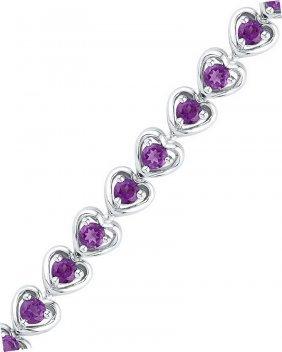 3.62 Ctw Amethyst Bracelet White Rhodium Silver -