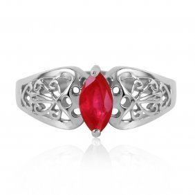 Genuine 0.20 Ctw Ruby Ring Jewelry 14kt White Gold -