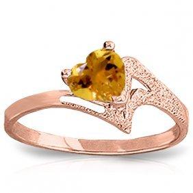 Genuine 0.95 Ctw Citrine Ring Jewelry 14kt Rose Gold -