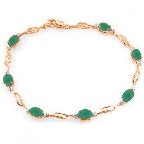 Genuine 3.51 Ctw Emerald & Diamond Bracelet Jewelry