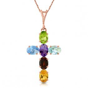 Genuine 1.5 Ctw Multi-gemstone Necklace Jewelry 14kt
