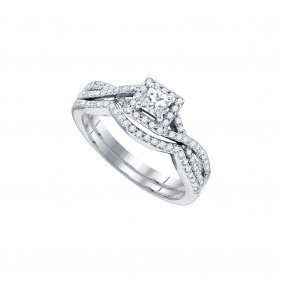 0.87 Ctw Diamond Bridal Ring 14kt White Gold -