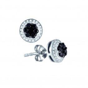 Genuine 0.50 Ctw Black Diamond Earrings 10kt White Gold