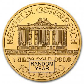 One Pc. Austria 1 Oz .9999 Fine Gold Philharmonic Bu