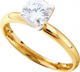 Genuine 0.85 Ctw Diamond Solitaire Ring 14kt Yellow