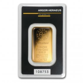 One Pc. 1 Oz .9999 Fine Gold Bar - Argor-heraeus