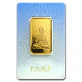 One Pc. 1 Oz .9999 Fine Gold Bar - Pamp Suisse Buddha