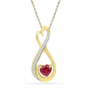 Genuine 0.70 Ctw Ruby & Diamond Pendant 10kt Yellow