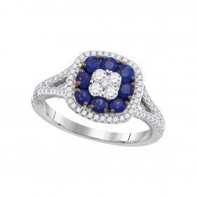 Genuine 1.12 Ctw Sapphire & Diamond Ladies Ring 18kt