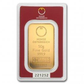 One Pc. 50 Gram .9999 Fine Gold Bar - Austrian Mint In