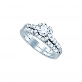 Natural 1.0 Ctw Diamond Bridal Set Ring 14k White Gold