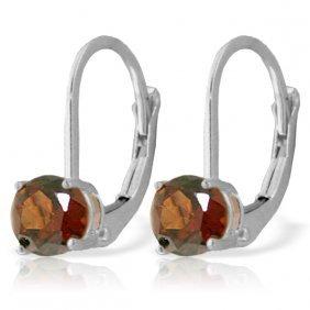 Genuine 1.20 Ctw Garnet Earrings Jewelry 14kt White