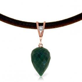 Genuine 13.01 Ctw Emerald & Diamond Necklace Jewelry