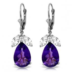 Genuine 13 Ctw Amethyst & White Topaz Earrings Jewelry
