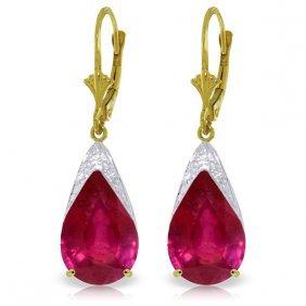 Genuine 10 Ctw Ruby Earrings Jewelry 14kt Yellow Gold -