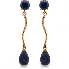 Genuine 7.9 Ctw Sapphire Earrings Jewelry 14kt Rose