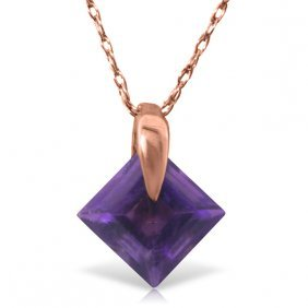 Genuine 1.16 Ctw Amethyst Necklace Jewelry 14kt Rose