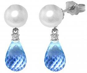Genuine 6.6 Ctw Blue Topaz & Diamond Earrings Jewelry
