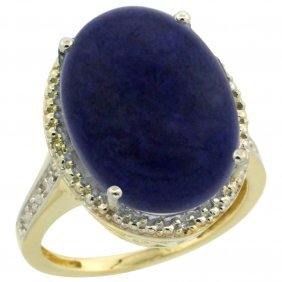 Natural 9.49 Ctw Lapis & Diamond Engagement Ring 10k