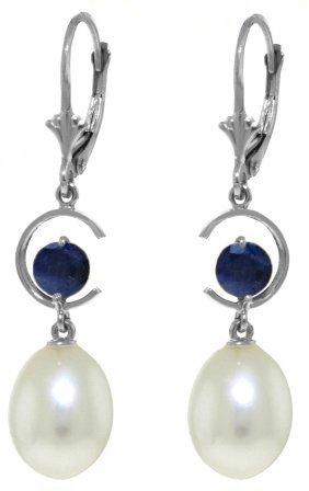 Genuine 9 Ctw Pearl & Sapphire Earrings Jewelry 14kt