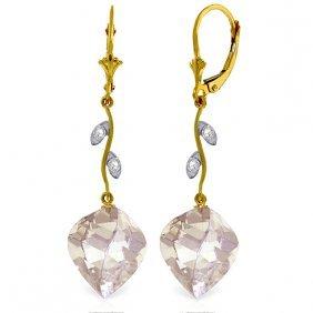 Genuine 25.62 Ctw White Topaz & Diamond Earrings