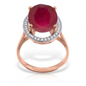 Genuine 7.93 Ctw Ruby & Diamond Ring Jewelry 14kt Rose
