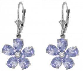 Genuine 4.43 Ctw Tanzanite & Diamond Earrings Jewelry