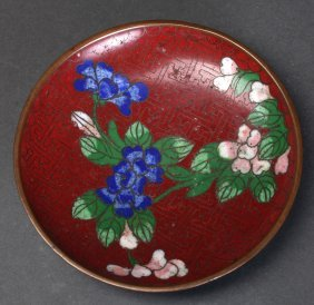Small Antique Chinese Cloisonne Dish