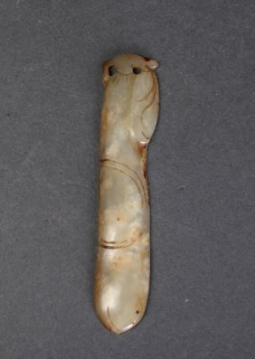 Chinese Qing Carved White Jade Handle