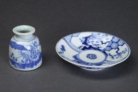 2 Japanese Blue & White Porcelain Articles