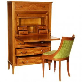 Secretaire With Matching Chair, C. 1955