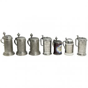 7 Pewter Or Ceramic Beer Mugs, From 1794