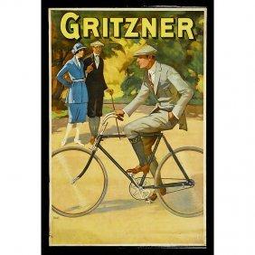 """Bicycle Advertising Poster """"Gritzner"""", C. 1910"""