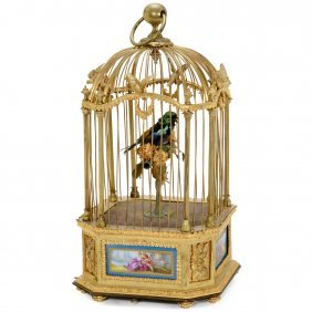 Singing Bird Automaton In Gilt-bronze And Porcelain
