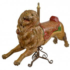 Rare Carved Carousel Lion, C. 1890