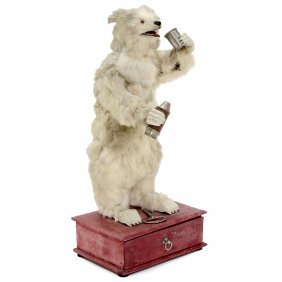 Rare Drinking Polar Bear Automaton By Decamps, C. 1920