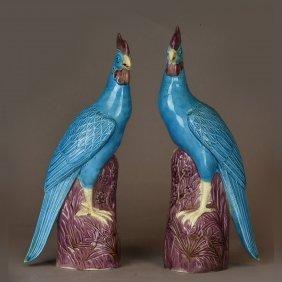 A Pair Of Chinese Blue Glazed Ceramic Phoenix Birds