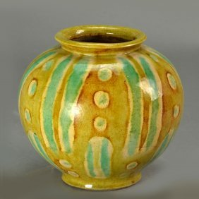 Chinese Antique Yellow And Green Glazed Jar