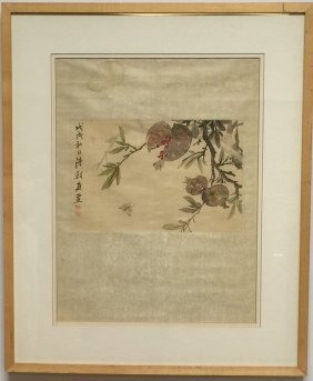 Chinese Frame Painting Of Flower And Bird Signed