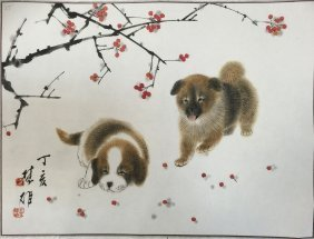 Chinese Painting Of Two Dogs Signed By Fa Cu Ding