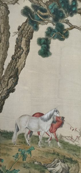 Qing Chinese Silk Scroll Painting Of Horse Figure