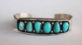 A Turquoise Silver Bracelet From Indian Famous