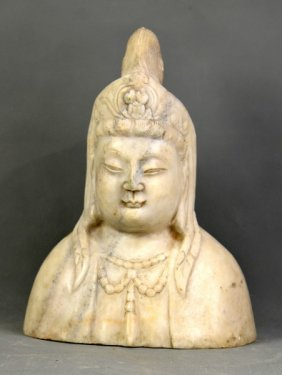 A Guanyin Statue Carved In White Marble