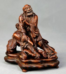 Rohan Sitting Statue Made In Huang Yang Root From Qing