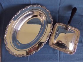 A Silver Plate And Box With Lid