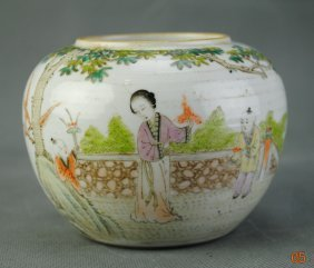 A Famille Rose Brush-washer With Figure Pattern From La