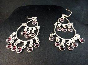Garnet Chandelier Sterling Silver Earrings