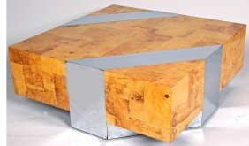 PAUL EVANS BURL OLIVEWOOD AND CHROME COFFEE TABLE, O