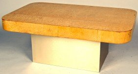 PAUL EVANS BIRD'S EYE MAPLE AND BRUSHED STEEL COFFE