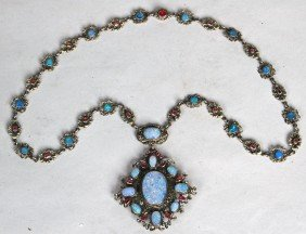 19TH C. GERMAN SILVER & OPAL NECKLACE, With Drop Pe